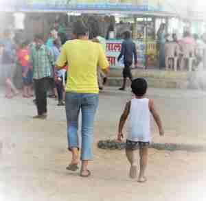 Chuski @ chaupati for mama, walk for Ayaan :)
