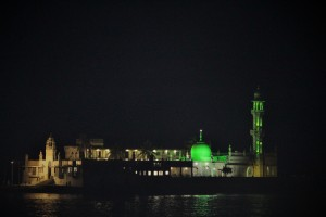 Luminous night view of Haji Ali captured on the way back from the Gateway to the hotel via Marine Drive.
